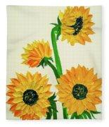 Sunflowers Using Palette Knife Fleece Blanket