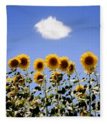Sunflowers With A Cloud Fleece Blanket