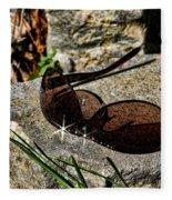 Sunglasses On Stone Fleece Blanket