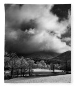 Sunlight Clouds And Snow In Black And White Fleece Blanket
