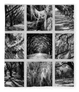 Sunlight Through Live Oaks Collage Fleece Blanket