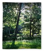 Sunlight Through Trees And Fence Fleece Blanket