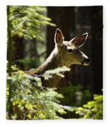 Sunlit Deer Friend Fleece Blanket