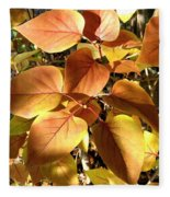Sunlit Lilac Leaves Fleece Blanket