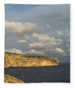 Sunlit Limestone Cliffs In Malta Fleece Blanket