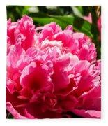 Sunlit Pink Peony Fleece Blanket