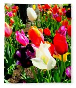 Sunlit Tulips Fleece Blanket