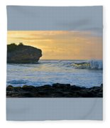Sunlit Waves - Kauai Dawn Fleece Blanket