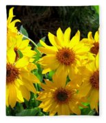 Sunlit Wild Sunflowers Fleece Blanket