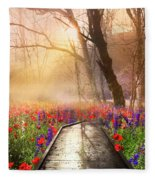 Sunlit Wildflowers Fleece Blanket
