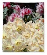 Sunlit Yellow Rhodies Art Print Creamy Rhododendrons Flowers Baslee Troutman Fleece Blanket