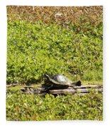 Sunning Turtle In Swamp Fleece Blanket