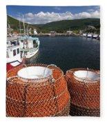 Sunny Cape Breton Harbor Fleece Blanket