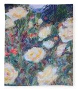 Sunny Day At The Rose Garden Fleece Blanket
