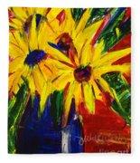 Sunny Flowers Fleece Blanket
