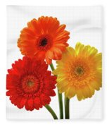 Sunny Gerbera On White Fleece Blanket