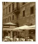 Sunny Italian Cafe - Sepia Fleece Blanket