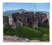 Sunny Panorama Of Greek Meteora Fleece Blanket