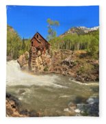 Sunny Skies Over The Crystal Mill Fleece Blanket
