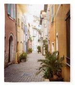 Sunny Street In Villefranche-sur-mer Fleece Blanket