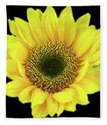 Sunny Sunflower Black Yellow Fleece Blanket