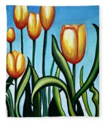 Sunny Yellow Tulips Fleece Blanket