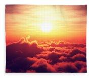 Sunrise Above The Clouds Fleece Blanket