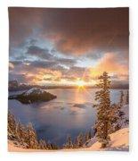 Sunrise After Summer Snowfall Fleece Blanket