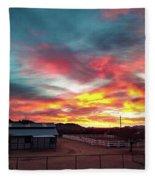 Sunrise And Horse Barn Fleece Blanket