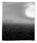 Sunrise And The Cotton Field Bw Fleece Blanket