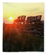 Sunrise And The Lifeguard Chairs  Fleece Blanket