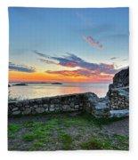 Sunrise At Castle Rock Marblehead Ma Rocky Coast Fleece Blanket