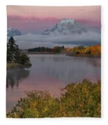 Sunrise At Oxbow Bend Fleece Blanket