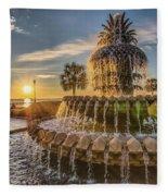 Sunrise At Pineapple Fountain Fleece Blanket