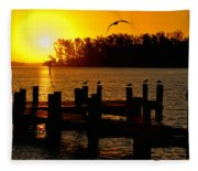 Sunrise At The Boat Launch  Fleece Blanket