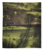 Sunrise At The Sheep Farm Fleece Blanket
