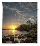 Sunrise At The Sunshine Skyway Fleece Blanket