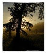 Sunrise Behind Elm Tree Fleece Blanket