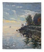 Sunrise Fishing Fleece Blanket