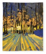 Sunrise Forest Modern Impressionist Landscape Painting  Fleece Blanket