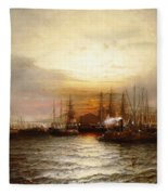 Sunrise From Chapman Dock And Old Brooklyn Navy Yard, East River, New York Fleece Blanket