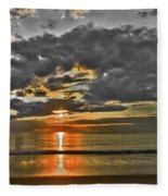 Sunrise-hdr-bw With A Touch Of Color Fleece Blanket