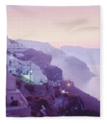 Sunrise In Oia Fleece Blanket
