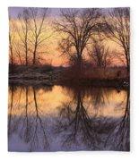Sunrise Lake Reflections Fleece Blanket