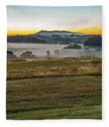 Sunrise Landscape Over Morganton Town In  North Carolina  Fleece Blanket