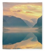 Sunrise Lovatnet, Norway Fleece Blanket
