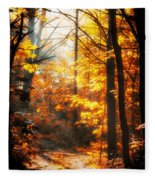 Sunrise Mist Through The Trees Fleece Blanket