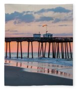 Sunrise Ocean City Fishing Pier Fleece Blanket