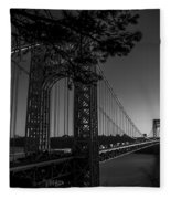 Sunrise On The Gwb, Nyc - Bw Landscape Fleece Blanket