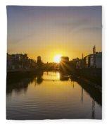 Sunrise On The Liffey River - Dublin Ireland Fleece Blanket